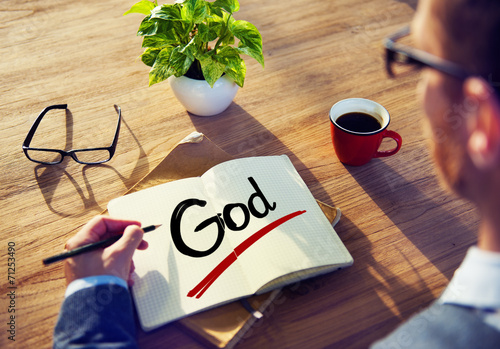 canvas print picture Man with Note Pad and God Concept