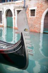 Gondola moored in a venetian canal - Venice, Italy, Europe