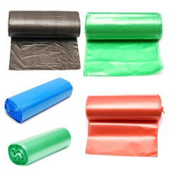 Collection of colored garbage bags