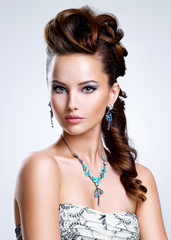 Portrait of a beautiful woman with creative hairstyle