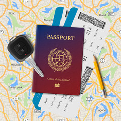 International passport, boarding pass, tickets