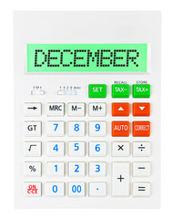 Calculator with DECEMBER on display isolated on white background