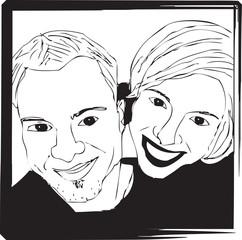 Portrait Selfie Image de Couple Homme Femme en Noir et Blanc