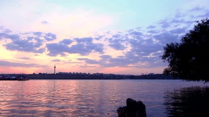 time lapse ferry transportation on the Danube on sunset