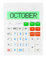 Calculator with OCTOBER on display isolated on white background