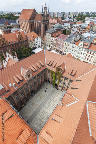Aerial view of old town in Torun, Poland. - 71255004
