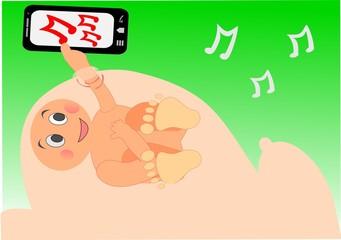 Bebé en la panza de la mamá escuchando música por el celular