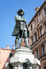 Statue of the italian writer Carlo Goldoni Venice Italy