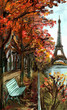 Street in autumn Paris. Eiffel tower -sketch illustration - 71255695