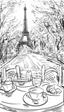 Street in autumn Paris. Eiffel tower -sketch illustration - 71255671