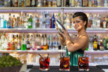 Young barmaid inside Be Towers bar in Budrio, Bologna, Italy. Th