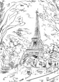 Street in autumn Paris. Eiffel tower -sketch illustration - 71255824