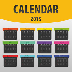 Colorful calendar 2015 year. banner template. Vector
