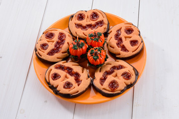 Halloween cookies with pumpkin
