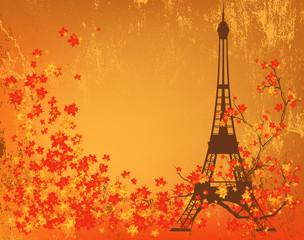 autumn in Paris shabby background