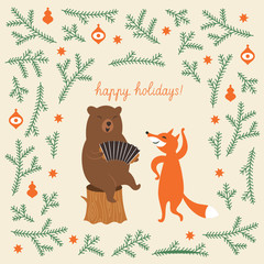 Greeting Christmas card, a bear and a cute fox