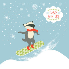 badger is snowboarder