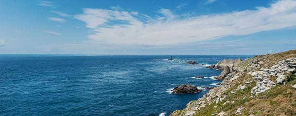 Pointe du Raz panoramic view. A rocky, dangerous point that exte
