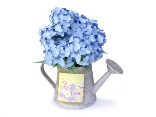 3D Blue Hydrangeas in a Watering Can
