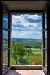 canvas print picture - Tuscany landscape from window