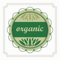 emblem organic product natural green in the circle