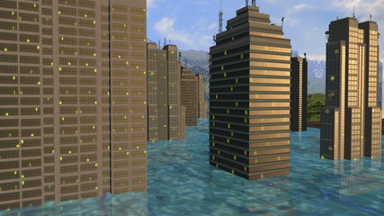 Skyscrapers between the rise of the water