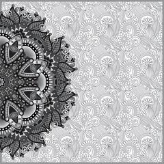 Circle grey lace ornament, round ornamental geometric doily patt