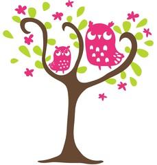 gufi fucsia sull'albero