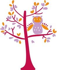 gufo viola sull'albero