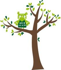 gufo verde sull'albero
