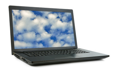 Laptop with sky isolated.