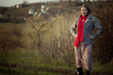 Girl on the rural landscape