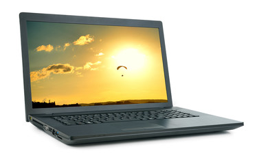 Laptop with picture isolated.