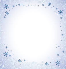 Frame in a luxurious style with snowflakes