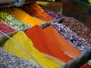 Colourful Spices and Tea in the Spices Bazaar of Istanbul