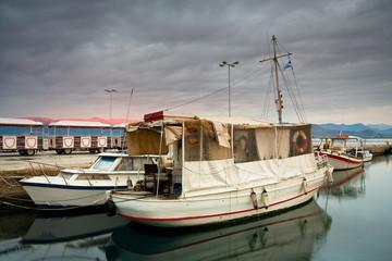Boats mooring in Nafplio, Peloponnese, Greece.