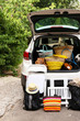 canvas print picture - Suitcases and bags in trunk of car ready to depart for holidays
