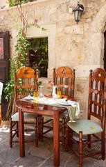 Table set at greek cafe