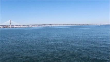 The Vasco da Gama Bridge Crossing the River Tagus