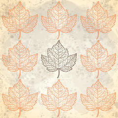 Pattern with autumn leaves in beige