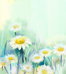 Daisy flowers.Abstract flower painting