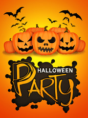 Halloween Party Orange Pumpkins Card