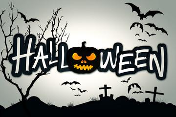 Halloween Black Pumpkin Night Graveyard