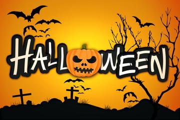 Halloween Orange Pumpkin Night Graveyard