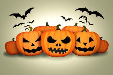 Halloween Pumpkins Bats White Background