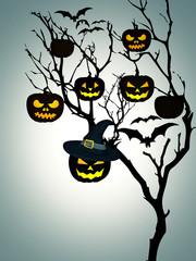 Tree Halloween Pumpkins Bats White Background