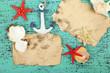 Decor of seashells, starfish and old paper