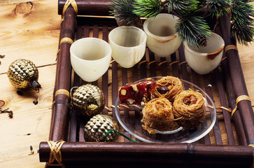 woven bamboo tray with Christmas sweets