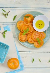 ripe and juicy yellow tomatoes