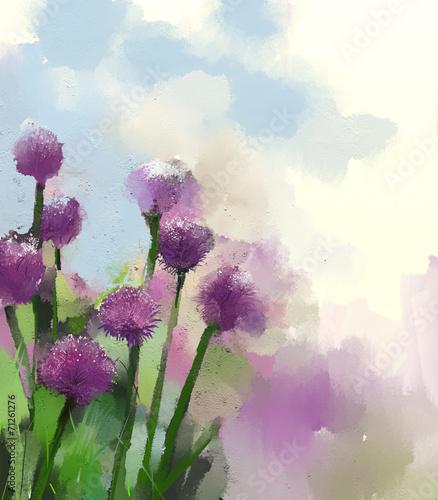 Purple onion flowers oil painting. - 71261276